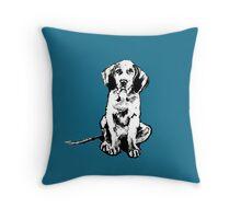 retro waimaraner pup Throw Pillow