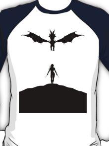 Dragon & Female Warrior - Skyrim T-Shirt
