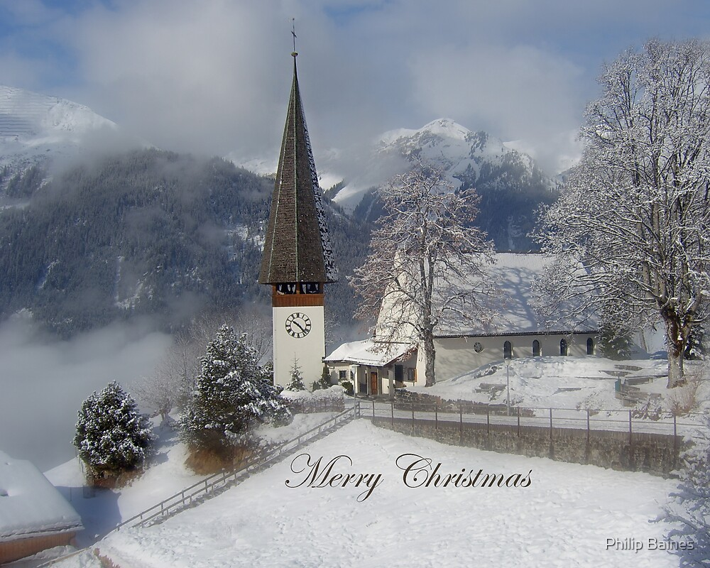 Wengen Christmas Card 2 by Philip Baines
