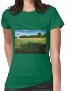 Green wheat field Womens Fitted T-Shirt