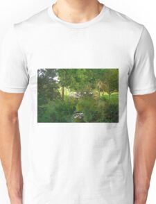 Small wooden bridge over river Unisex T-Shirt