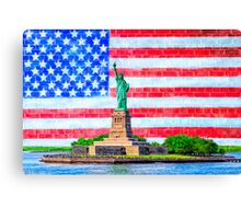 Lady Liberty And The American Flag Canvas Print