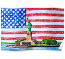 Lady Liberty And The American Flag Poster
