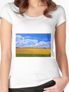 Wheat field in vivid colors Women's Fitted Scoop T-Shirt