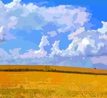 Wheat field in vivid colors Sticker