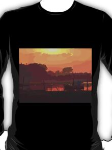 Boat in dramatic sunset T-Shirt