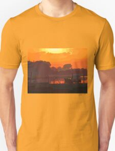 Boat in dramatic sunset Unisex T-Shirt