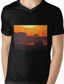 Boat in dramatic sunset Mens V-Neck T-Shirt