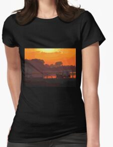 Boat in dramatic sunset Womens Fitted T-Shirt