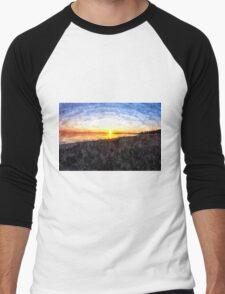 Beautiful sunset above the sea Men's Baseball ¾ T-Shirt
