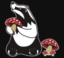 Badger, Badger, Badger, Badger, Mushroom, white stroke One Piece - Short Sleeve