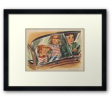 Retro Unsafe Driving Framed Print