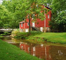 Wallace Cross Grist Mill Reflection by Bob Sample