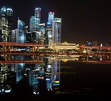 Singapore: Fullerton Hotel and Finance Centre Skyline by Kasia-D