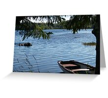 Rowing boat moored on the banks of Lough Eske, County Donegal, Ireland. Greeting Card