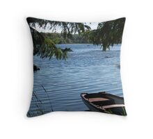 Rowing boat moored on the banks of Lough Eske, County Donegal, Ireland. Throw Pillow