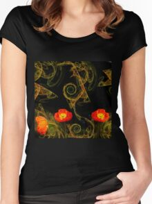 Decorative poppy Women's Fitted Scoop T-Shirt