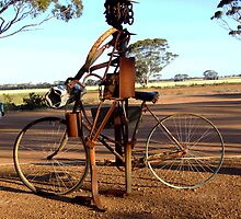 Girl on a bike.....welded art at Hyden, Western Australia by Maureen Smith