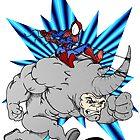 Spider-man riding Rhino by Skree