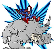 Spider-man riding Rhino by Skree