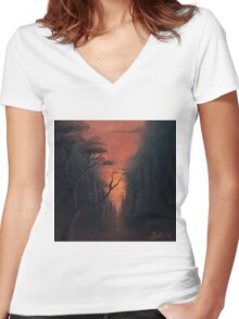 Thru the Forest Women's Fitted V-Neck T-Shirt