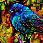 Blue bird in vivid colours by siwabudda