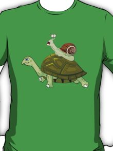 Frightened Snail Hitches a Ride T-Shirt