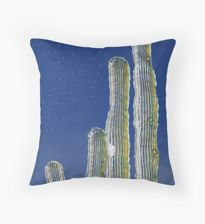 Starry Cactus Throw Pillow