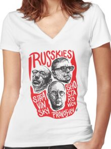 Ruskies-Russian Composerss Women's Fitted V-Neck T-Shirt