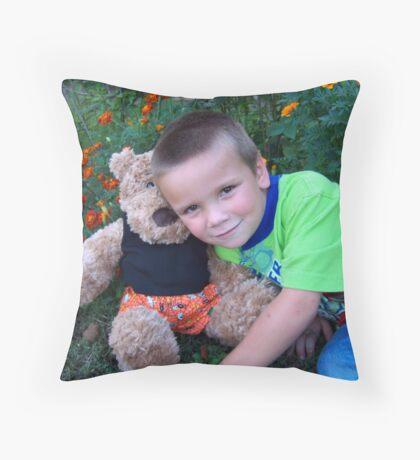 my son and my bear bear Throw Pillow