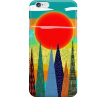 Folk Art Mountains and Sunset iPhone Case/Skin