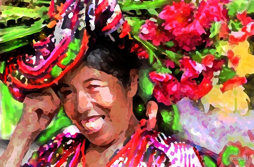 MAYAN WOMAN SELLING FLOWERS IN THE MERCADO IN LAGO ATITILAN, GUATEMALA by miguel