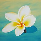 Frangipani with shadow (aqua) by Jane Whittred