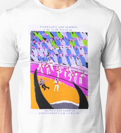 1988 Pamplona Spain Running of the Bulls Poster Unisex T-Shirt