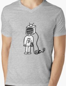 Wired In Retro Gamer Mens V-Neck T-Shirt