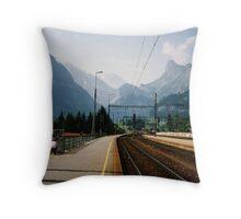 Kandersteg Train Station Throw Pillow
