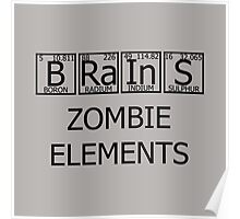 Brains Zombie Elements Poster