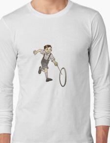 Retro Kid Playing Long Sleeve T-Shirt