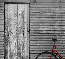 Waiting Red Bike by Stephen Mitchell