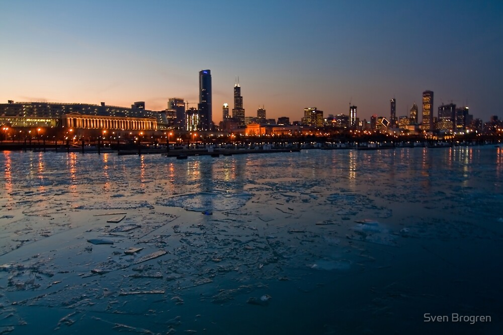 Chicago skyline and Harbor at dusk in the winter by Sven Brogren