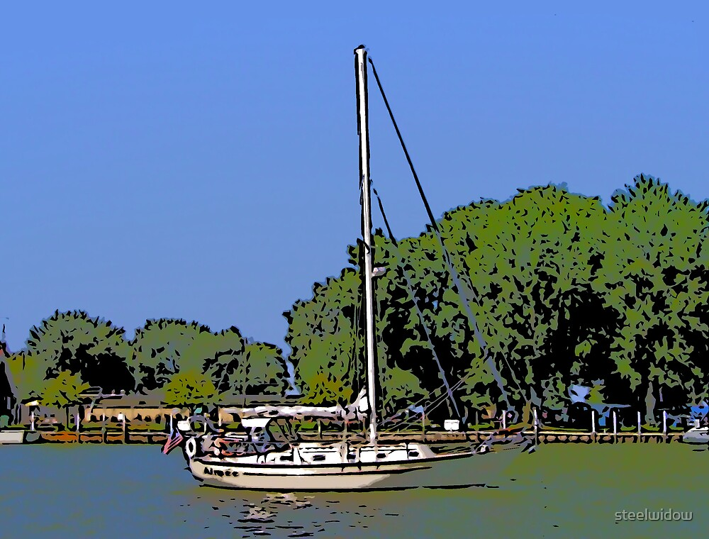 Comic Abstract Sailboat by steelwidow