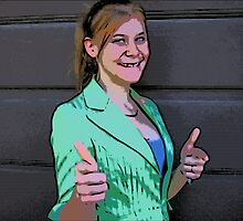 Comic Abstract Thumbs-Up Girl by steelwidow
