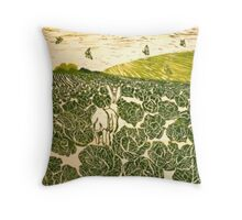 Cabbage Field Hare Throw Pillow