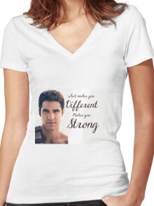 Darren Criss Quote Women's Fitted V-Neck T-Shirt