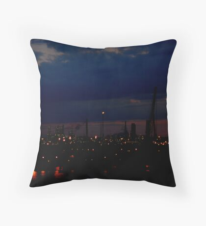 Refinery in the dark Throw Pillow