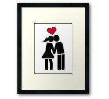 Kissing couple red heart Framed Print