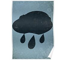 Misfits-Style Halftone Grunge Rain Icon Poster
