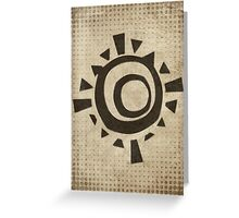 Misfits-Style Halftone Grunge Sun Icon Greeting Card