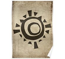 Misfits-Style Halftone Grunge Sun Icon Poster