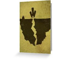 Misfits-Style Halftone Grunge Earthquake Icon Greeting Card